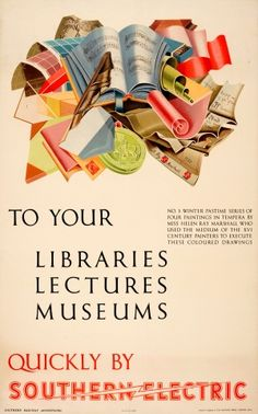 London Libraries Museums Southern Electric, 1937 - original vintage poster by Helen Ray Marshall listed on AntikBar.co.uk