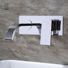 86.70$  Buy now - http://alifc8.worldwells.pw/go.php?t=32729713395 - HPB Wall Mounted Contemporary Brass Waterfall Bathroom Sink Faucet Single Handle Bathtub Mixer Tap torneira banheiro HP3307