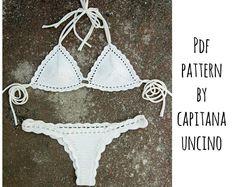 PDF, Crochet PATTERN for Medeia Crochet Bikini Top and Brasilian Bottom, Cheeky, Sizes XS-L