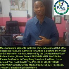FOW 24 NEWS: Vigilante Member Arrested In Rivers State For Beat...