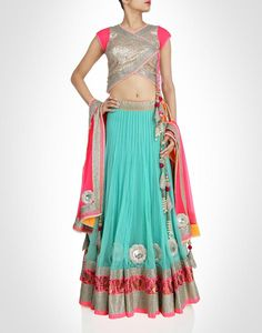 Sea blue lehenga with glittering sequins. Shop Now: www.kimaya.in