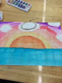 This is another one of my portal creations of a sunset. It was made just with watercolor pencils and paint.