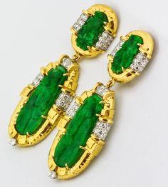 David Webb Carved Jade Diamond Gold Earrings 2 35000$