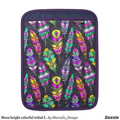 Neon bright colorful tribal feathers pattern dark sleeve for iPads