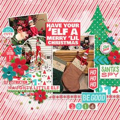 have your elf a merry lil christmas layout by keepscrappin using digital scrapbooking products from the Lilypad.