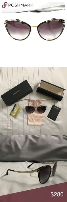 Bvlgari Women's Gradient Black Cat Eye Sunglasses These sunglasses are gorgeous! They have a very modern look to them with the curved temples. They have never been worn. Perfect condition. Givenchy Accessories Sunglasses