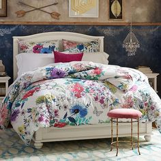 PB Teen Bright Bouquet Duvet Cover, Twin, Multi ($62) ❤ liked on Polyvore featuring home, bed & bath, bedding, duvet covers, floral twin xl bedding, floral pillow shams, floral twin bedding, flower bedding and flower stem