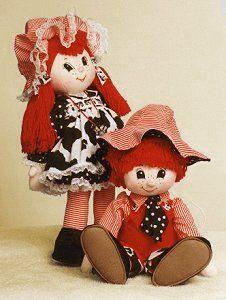 Doll Net Market/Internet Visions Company::Judi's Dolls - Cloth Doll Patterns::Babies & Children::Denim Daniel & Calico Cassie