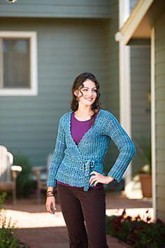 Ravelry: Larkspur Wrap Sweater pattern by Ellen Gormley.   Side to side?