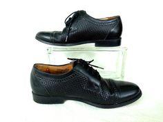 143016df5fe Vintage GRAN EMYCO Black Shoes Cap Toe Brogue Dress Shoes Oxfords Mid  Centrury Rockabilly Formal Shoes Mad Men 60 s Mens Size 8 M Mexico