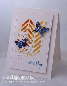 Chevron stencil, butterflies, calliope die, Simply One Of A Kind: