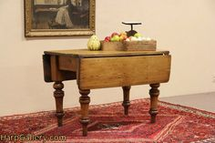 English Country Pine 1860 Antique Dropleaf Breakfast Dining Table - Harp Gallery Antique Furniture