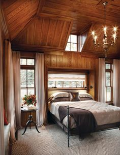 """""""Love this for a master in a cabin. Very luxurious take on cabin inspired"""" The slants could be the upper level, and I like the concept of the bed nook Bed Nook, Log Home Interiors, Lodge Style, Room Planning, Cabin Design, Inspired Homes, Log Homes, Home Bedroom, Home And Living"""