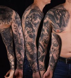 Life/Death sleeve - 80+ Awesome Examples of Full Sleeve Tattoo Ideas  <3 <3