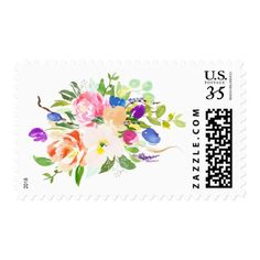 Watercolor Floral Bouquet Mixed Flowers Postage