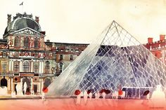 Architectural watercolour of Louvre, Paris by Polish Architect Maja Wrońska. Sketch Painting, Watercolor Sketch, Watercolor Paintings, Watercolors, Watercolor Canvas, Watercolor Architecture, Art And Architecture, Industrial Architecture, Classical Architecture