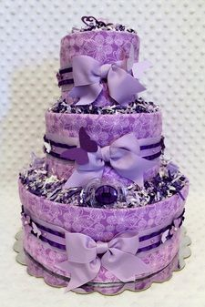 Purple Butterflies Baby Diaper Cake Shower Gift Or Centerpiece By  Www.diannasdiapercakes.com