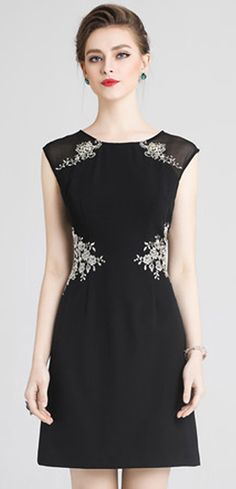 Party Embroidery O-Neck Sleeveless Bodycon Dress Dressy Dresses, Simple Dresses, Nice Dresses, Dresses For Work, Dress Casual, Women's Fashion Dresses, Dress Outfits, Dress Clothes, Casual Clothes
