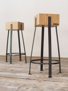 Delamont - Pair of stools in chestnut wood and industrial iron