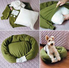 DIY dog/cat bed from an old sweater Diy Dog Bed, Diy Bed, Pet Beds Diy, Homemade Pet Beds, Doggie Beds, Cat Beds, Diy Pour Chien, Old Sweatshirt, Cat Sweaters