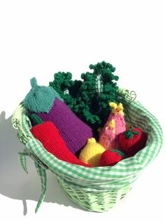 Farmers Market Set of 9 plus Basket by Archaeopterknits on Etsy