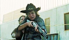 Rick and Carl thinking Judith is dead.