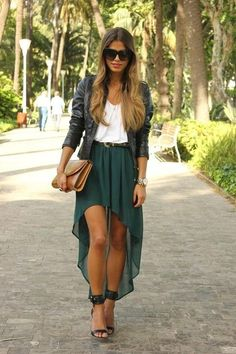 ombre hair, high low skirt, ankle strap sandals, great look.