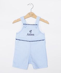 Loving this Princess Linens Blue & Navy Anchor Personalized Shortalls - Infant & Toddler on #zulily! #zulilyfinds