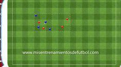 Ejercicio de Fútbol - Rondo de 4 jugadores contra 4 en dos cuadrados.