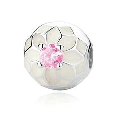 Clip dahlia blanca y rosa - VyM Joyeros