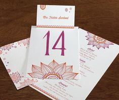 Trishna, our newest #multicultural #wedding #design looks great with your wedding reception items such as place cards, table numbers, menus and more.  | Invitations by Ajalon | invitationsbyajalon.com