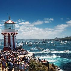 Hornby lighthouse watching the Sydney to Hobart yacht race