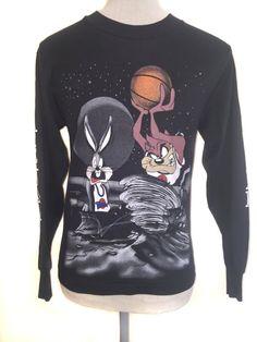 e2ad522c27d282 Vintage 1990s Space Jam Shirt Long Sleeve Bugs Bunny Taz Tasmanian Devil  Cartoon Michael Jordan Movie Small S