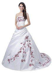 Faironly Trägerlos Weiß Rot Hochzeitskleid M56 (L)
