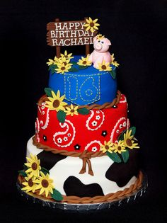 Western Birthday Cake - this would be great for a farm themed baby shower too. Western Theme Cakes, Western Birthday Cakes, 16 Birthday Cake, Birthday Ideas, Farm Birthday, 13th Birthday, Western Decor, Happy Birthday, Sweet Sixteen Cakes