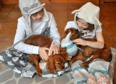 Cozy kids in Pajama Pants and hats featuring Fair Isle fabrics from Hawthorne Threads