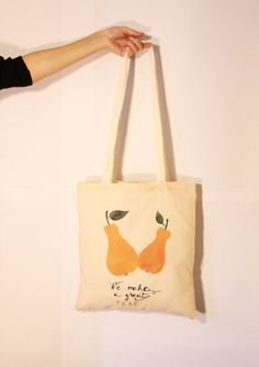 Canvas Tote Bag  Screen Printed Cotton Grocery by DeliaSopcaArt