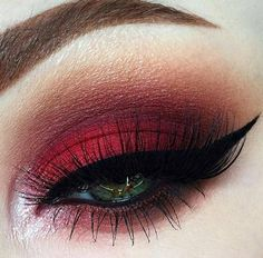 Make Up; Make Up Looks; Make Up Augen; Make Up Prom;Make Up Face; Red Eye Makeup, Eye Makeup Steps, Hooded Eye Makeup, Smokey Eye Makeup, Makeup Tips, Makeup Ideas, Red And Black Eye Makeup, Prom Makeup, Eyebrow Makeup