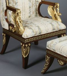 165: Russian Empire Style Carved Arm Chair And Ottoman On