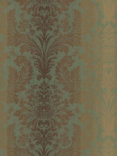 Get a glimpse of this gorgeous green and gold luxe wallpaper from the book Damask Fairwinds Studio. Available at AmericanBlinds.com #wallcovering #glamstyle