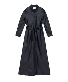 The soft silhouette of vegan leather has been brought to new lengths. Crafted skillfully, the Taurus dress includes the distinctive details of a soft belt tie around the waist; vertical buttons, a sharp collar and a draped back all for a more alluring look. Belt Tying, Taurus, Vegan Leather, Dresses For Work, Bring It On, Shirt Dress, Navy, Shirts, Silhouette