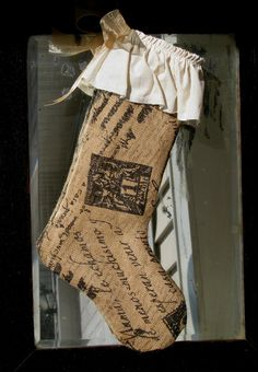 Rustic Postage Stamped burlap vintage style Christmas Stocking on Etsy