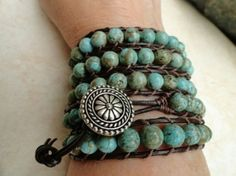 Western Girl Turquoise Beaded Leather Wrap Bracelet by erma Beaded Wrap Bracelets, Beaded Jewelry, Wire Bracelets, Crochet Bracelet, Pandora Bracelets, Boho Jewelry, Jewelry Ideas, Gemstone Jewelry, Jewelry Design