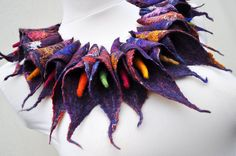Beautiful necklace - scarf, nuno felt, felt, silk, wool, collar, leaves,