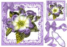 Pretty purple flower in ornate scroll frame with organza bow on Craftsuprint - View Now!