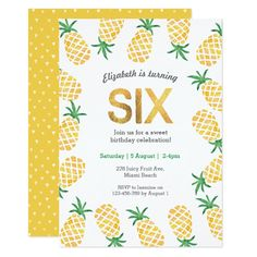 Zoo invitation templates party with the animals orange 8th tropical pineapple 6th birthday invitation filmwisefo