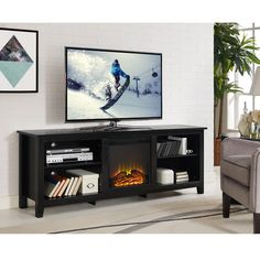 Shop for Black Fireplace TV Stand Console with Adjustable Shelving. Get free delivery On EVERYTHING* Overstock - Your Online Home Decor Outlet Store! Get in rewards with Club O! Black Fireplace, Wood Fireplace, Fireplace Inserts, Fireplace Shelves, 70 Inch Tv Stand, Built In Electric Fireplace, Tv Stand Console, Rustic Fireplaces, Indoor Fireplaces