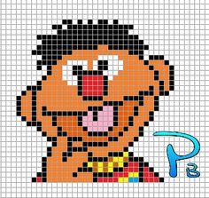 Ernie Sesame Street perler pattern - Patrones Beads / Plantillas para Hama
