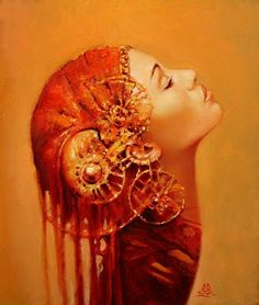 Art of Polish Artist Karol Bak  The art work on this site is different, somewhat haunting, somewhat beautiful.  This one pictured here is my favorite so far.