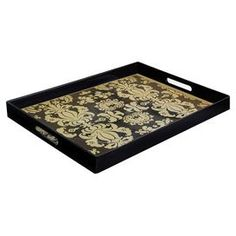 "From porch to poolside, this must-have design adds a chic splash of style to al fresco soirees and festive tablescapes.    Product: Tray   Construction Material: Polypropylene   Color: Black and gold   Features: Fleur de lis pattern   Dimensions: 2"" H x 19"" W x 14"" D   Cleaning and Care: Hand wash only"
